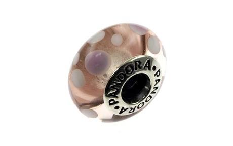 PANDORA Charm 925/- Sterlingsilber rosa Murano-Glas mit Punkten