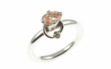 PANDORA Ring 925/- Sterlingsilber mit 14 kt Goldkranz, Diamant und Zirkonia