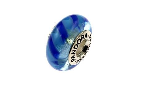 PANDORA Charm 925/- Sterlingsilber blaues Murano-Glas