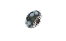 PANDORA Charm 925/- Sterlingsilber graues Murano-Glas mit weissen Blüten
