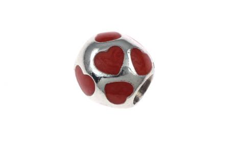 PANDORA Charm Herzen mit rotem Emaille 925/- Sterlingsilber