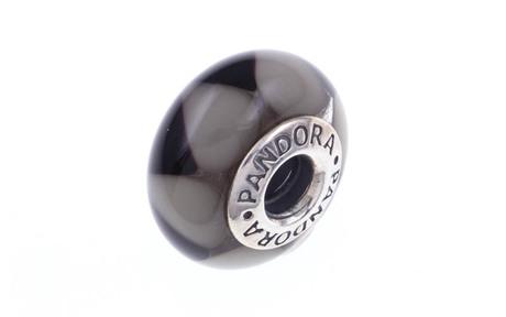 PANDORA Charm schwarzes Murano-Glas mit grauen Dreiecken 925/- Sterlingsilber