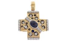 Anhänger Kreuz 750/- Gelbgold und Weißgold mit Diamanten und Saphir