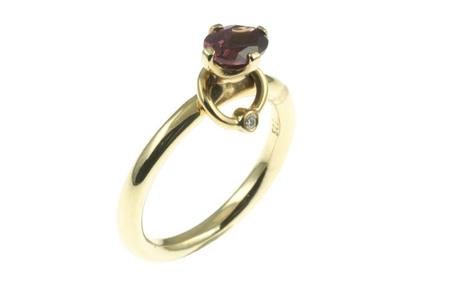 PANDORA Ring 585/- Gelbgold mit Diamant und Rhodolith