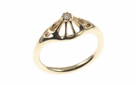 PANDORA Ring 585/- Gelbgold mit Diamant