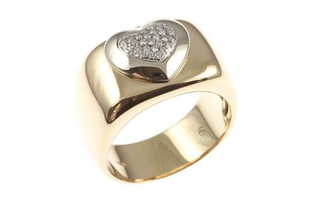 Ring Herz 750/- Gelbgold und Weißgold mit Brillanten