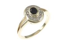 Ring 585/- Gelbgold und Weißgold mit Diamanten und Saphir
