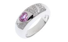 Chopard LOVE Ring 750/- Weißgold mit Diamanten und pink Saphir mit Originabox
