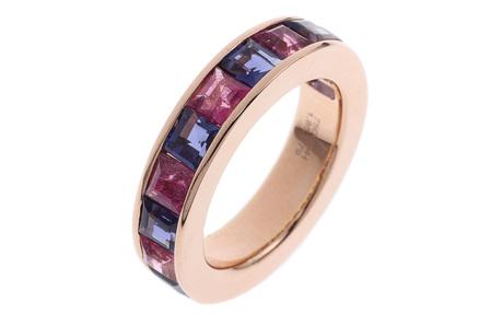 Ring 750/- Rotgold mit Iolith und Turmalinen