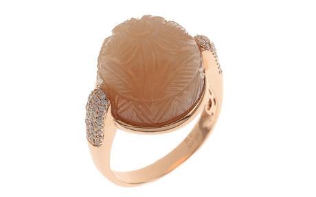 Ring 750/- Rotgold mit Diamanten und Mondstein