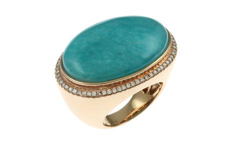 Ring 750/- Rotgold mit Diamanten und Amazonith