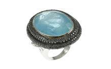 Ring 750/- Weißgold mit schwarzen Diamanten und Aquamarin