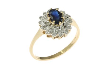 Ring 585/- Gelbgold mit Diamanten und Saphir