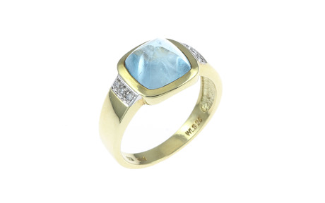 Ring 585/- Gelbgold mit Diamanten und Aquamarin