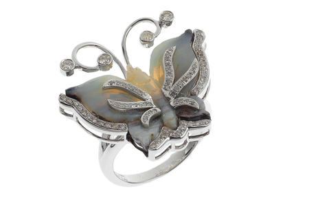 Ring 750/- Weißgold mit Diamanten und Opal