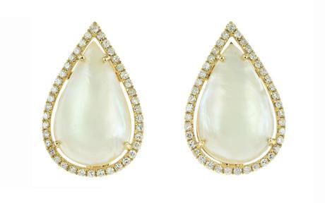 Ohrschmuck 750/- Gelbgold mit Diamanten und Mabe-Zuchtperlen