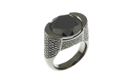 Ring 750/- Weißgold mit schwarzen Diamanten