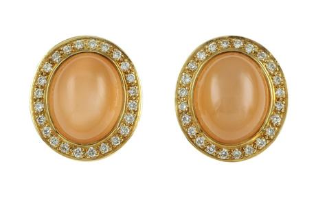 Ohrschmuck 750/- Gelbgold mit Diamanten und Mondstein