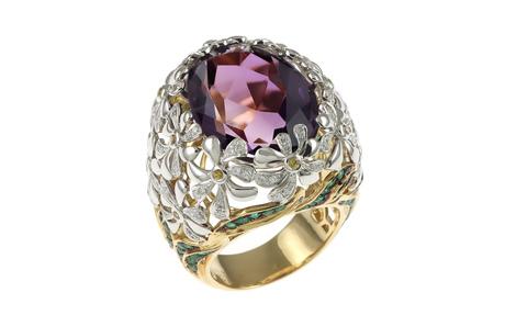 Ring 750/- Gelbgold und Weißgold mit Diamanten, Saphiren, Smaragden und Amethysten