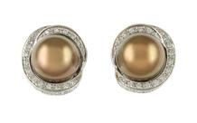 Ohrschmuck 750/- Weißgold mit Diamanten und Tahiti-Zuchtperle