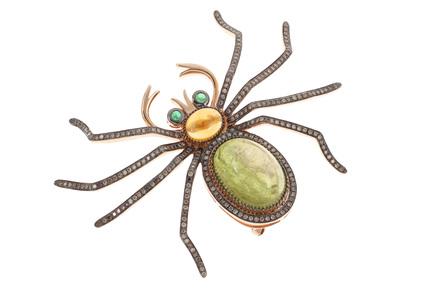 Anhänger / Brosche Spinne 750/- Rotgold mit braunen Diamanten, Smaragden, Citrin und Turmalin