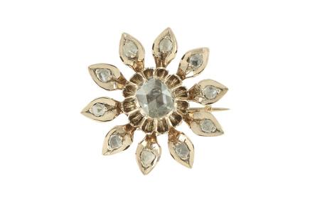 Brosche 585/- Roségold mit Diamantrosen