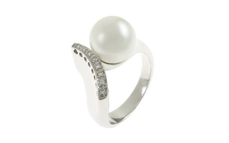 Ring 750/- Weißgold mit Diamanten und Südsee-Zuchtperle
