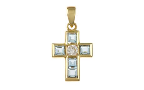 Anhänger Kreuz 585/- Gelbgold mit Diamant und Aquamarin
