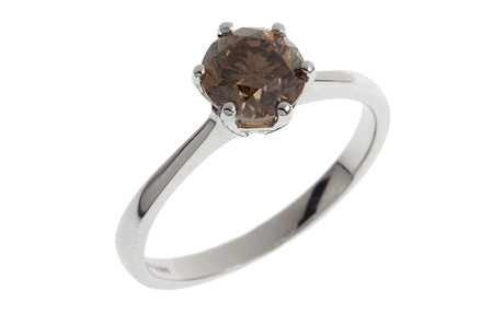 Ring 750/- Weißgold mit braunem Diamant