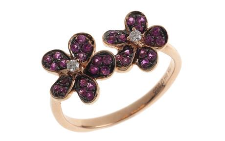 Ring 750/- Rotgold mit Diamanten und Saphir