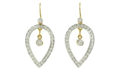 Ohrhänger 800/- Gelbgold mit Diamanten