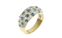 Ring 750/- Gelbgold mit Diamanten und Saphiren