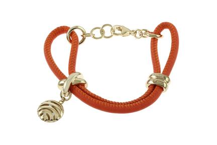 Viventy Lederarmband orange 925/- Sterlingsilber vergoldet mit Zirkonia