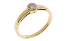 Solitär Ring 750/- Gelbgold mit Diamant