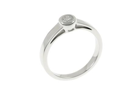 Solitär Ring 750/- Weißgold mit Diamant