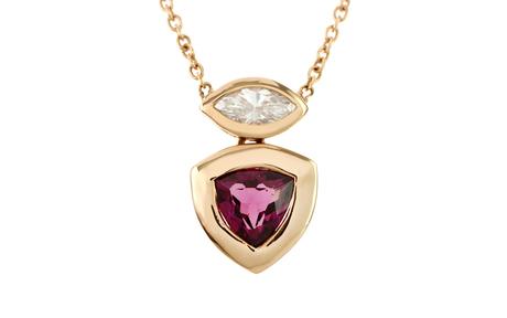 Collier 750/- Rotgold mit Diamant und Turmalin