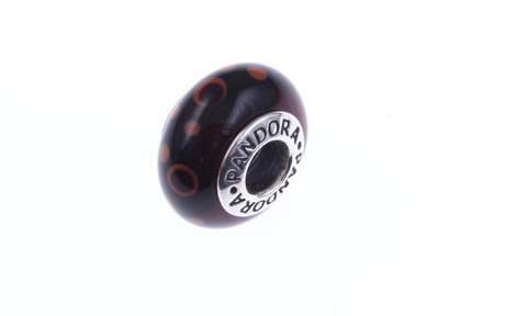 PANDORA Charm braunes Murano-Glas mit Punkten 925/- Sterlingsilber