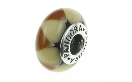 PANDORA Charm gelbes Murano-Glas mit Dreicken 925/- Sterlingsilber