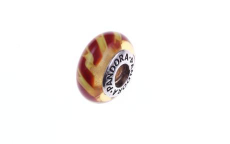 PANDORA Charm orangefarbenes Murano-Glas mit Muster 925/- Sterlingsilber