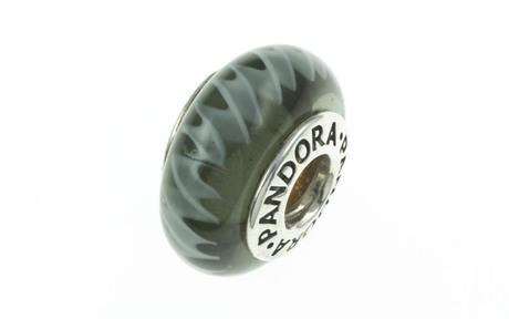 PANDORA Charm schwarzes Murano-Glas mit Muster 925/- Sterlingsilber