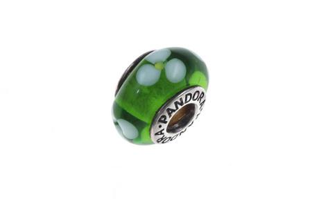 PANDORA Charm 925/- Sterlingsilber grünes Murano-Glas mit weissen Blüten