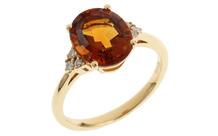 Ring 750/- Gelbgold mit Diamanten und Citrin