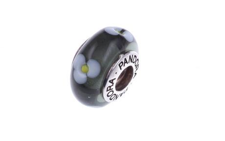 PANDORA Charm schwarzes Murano-Glas mit Blüten 925/- Sterlingsilber