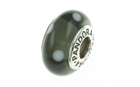 PANDORA Charm grünes Murano-Glas mit Punkten 925/- Sterlingsilber