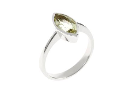 Ring 585/- Weißgold mit Quarz