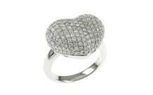 Ring Herz 750/- Weißgold mit Diamanten