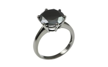 Ring 750/- Weißgold Black Rhodium mit schwarzem Diamant