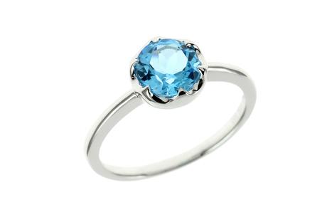 Ring 585/- Weißgold mit Blautopas