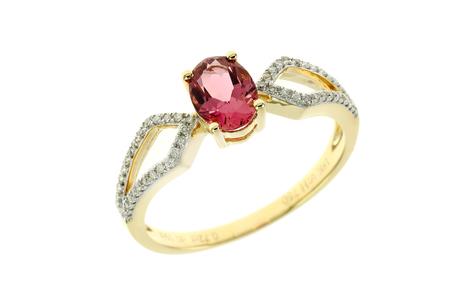 Ring 750/- Gelbgold mit Diamanten und Turmalin