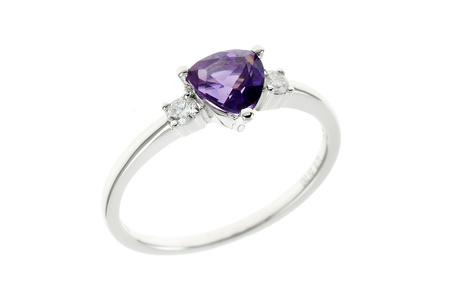 Ring 585/- Weißgold mit Diamanten und Amethyst